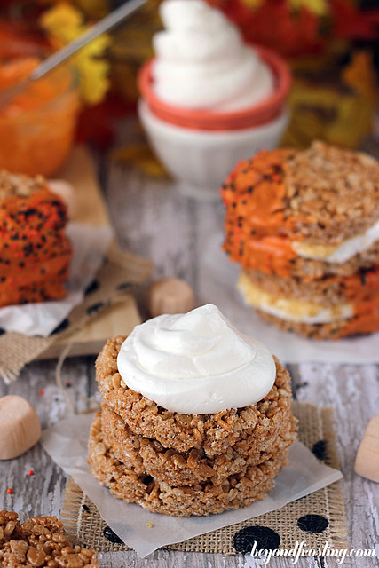 Pumpkin Spice Rice Krispie Treat S'mores
