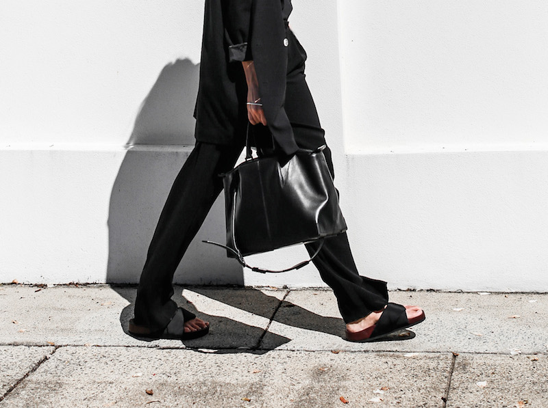 modern legacy fashion blog suit street style Celine slide sandals Max Mara wide leg pants boyfriend blazer Alexander Wang bag all black work wear (1 of 1)