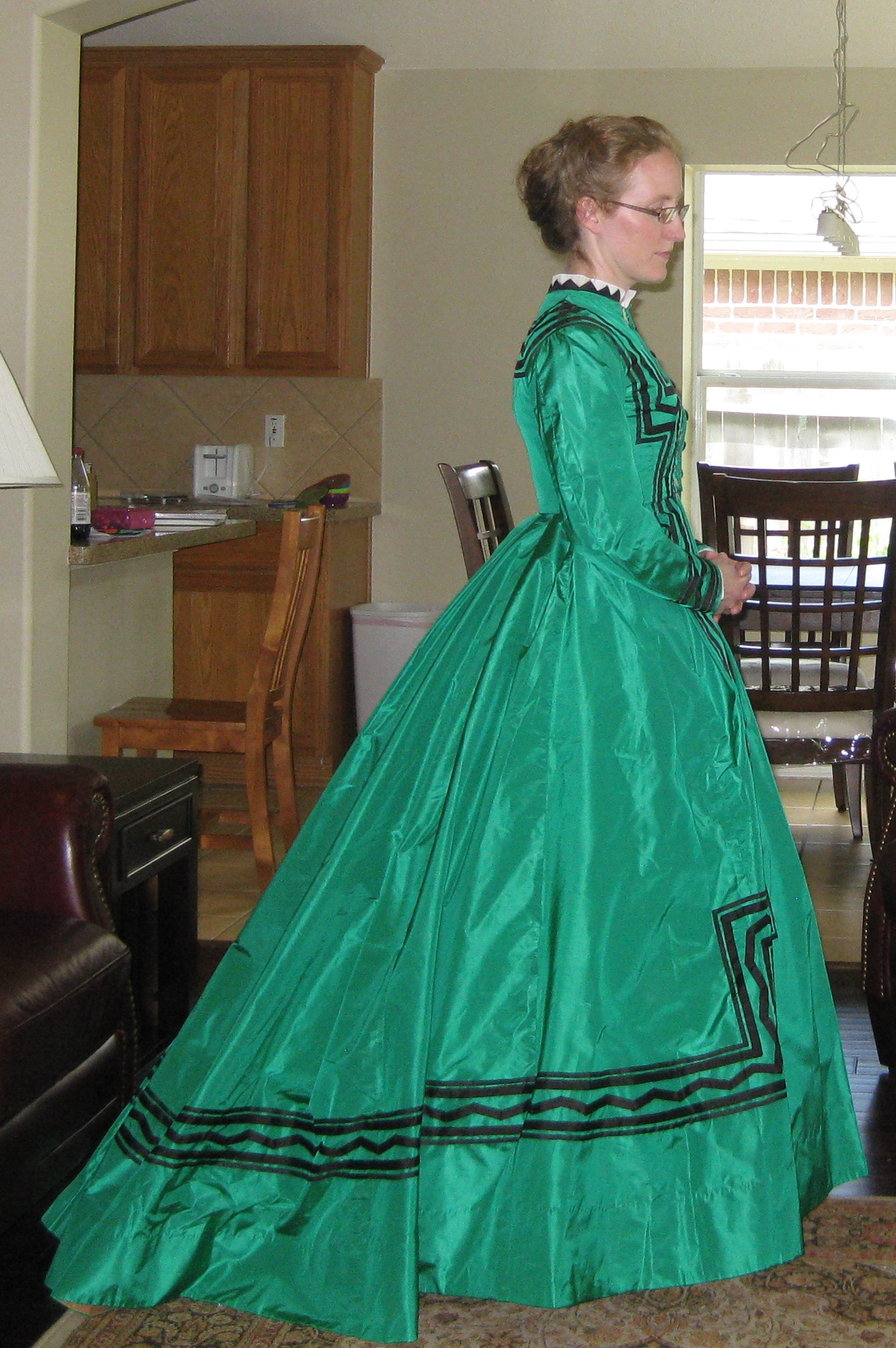 1868 Green Silk Dress - Side