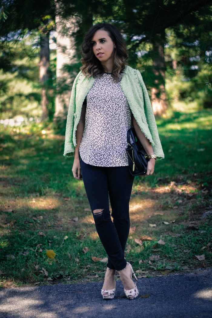 green tweed blazer.  madewell high riser destroyed black denim. fall style. va darling. andréa viza. dc blog. dc blogger. dc fashion. 2