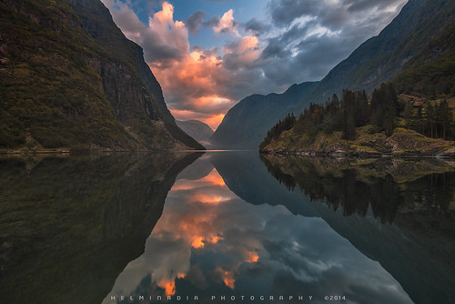 travel mountain reflection nature norway sunrise landscape fjord gudvangen