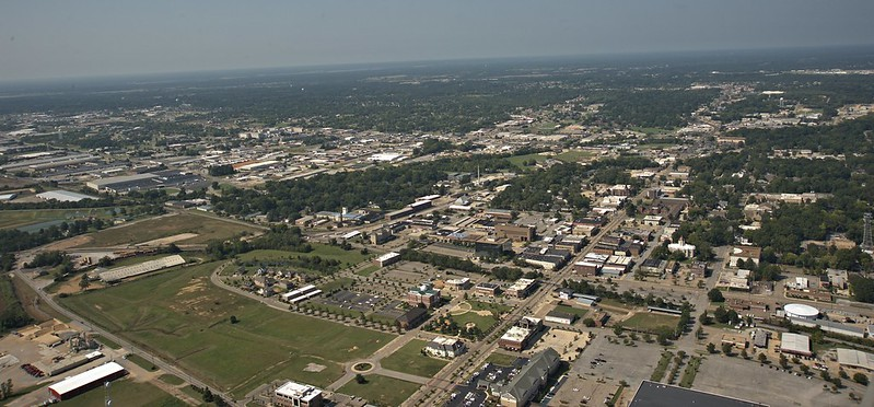 Downtown Tupelo from a Huey