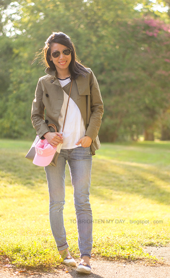pink cap, green swing trench jacket, baseball tee, espadrilles