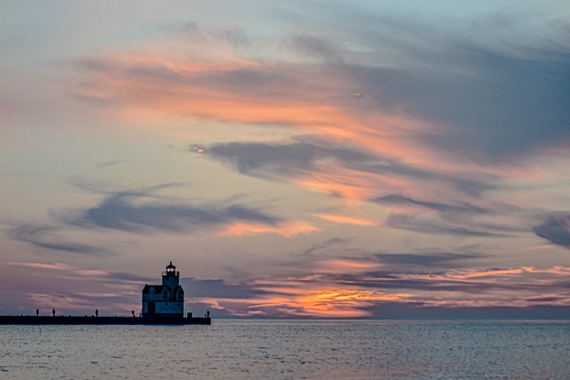 Lighthouse, Kewaunee, WI, Wisconsin, Lake Michigan, Sunrise, Sunset, Clouds
