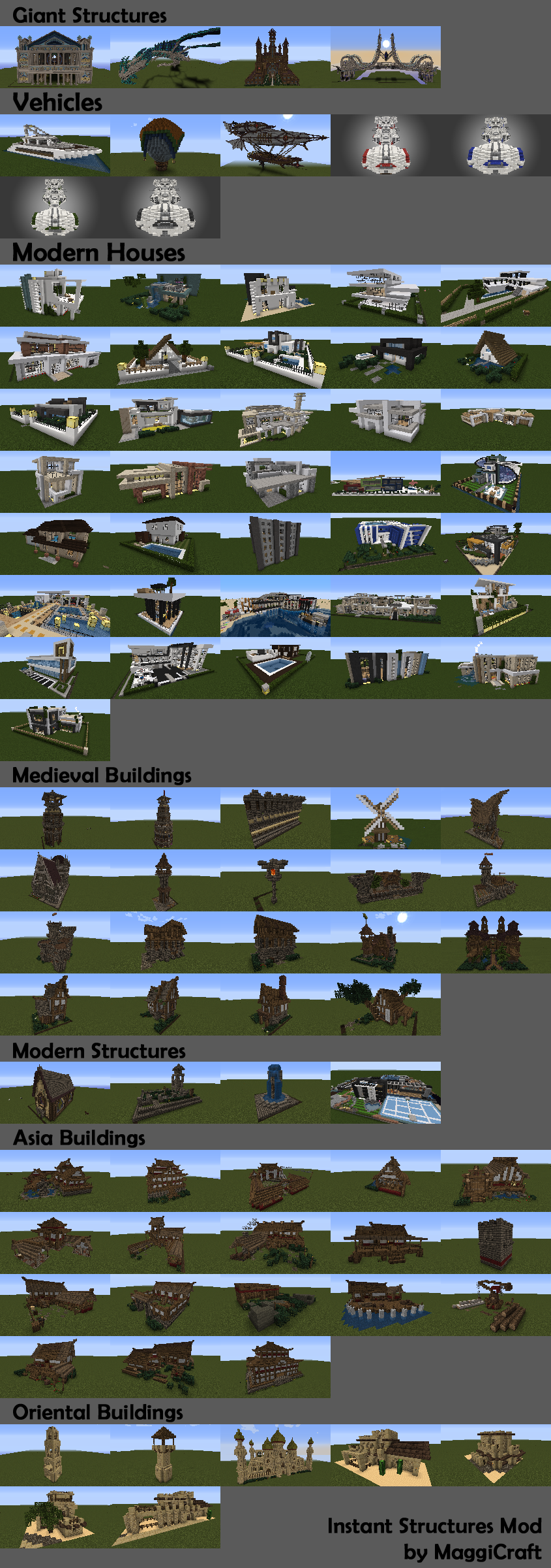 Instant Structures Мод 1.12.2, 1.11.2, 1.10.2, 1.9.x, 1.8, 1.7.x