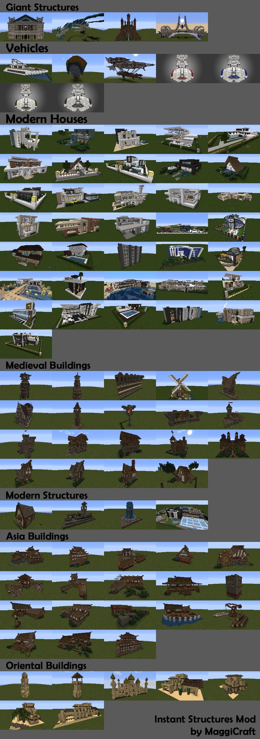 Мод Instant Structures для Minecraft 1.8.1 - 1.7.2