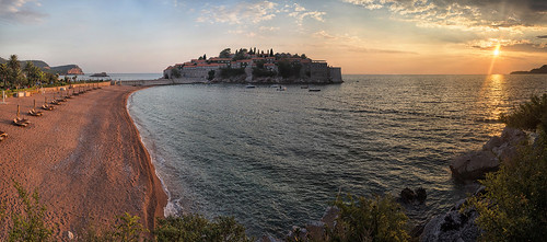 sunset sea beach hotel montenegro svetistefan