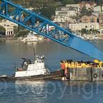 Freddie K Miller Tugboat tugging the I Lift NY Super Crane on the Hudson River, New Jersey-New York