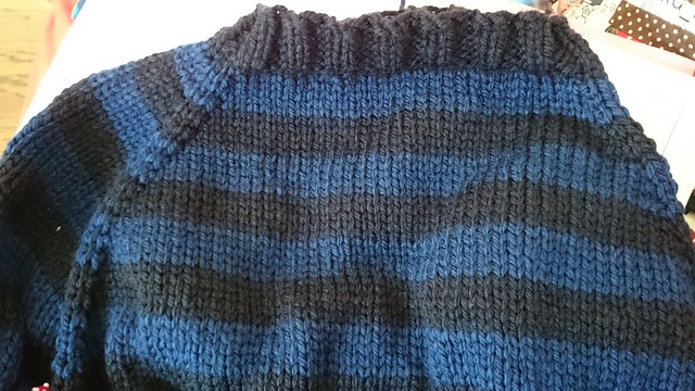 knitted raglan jumper in progress