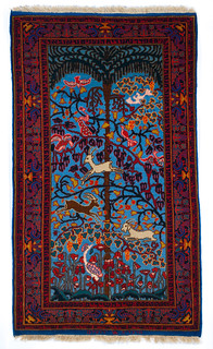 """Song of Songs"" Carpet; created at the Marvadia Workshop, Bezalel School of Arts and Crafts; Jerusalem, Israel; early-20th Century [85.35.51]"