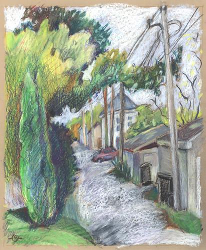 autumn alleyway urbanlandscape cedarfallsiowa 5bpencil neocoloriiwatersolublewaxpastels marciamilnerbrage cansonwickerwirescrapbook