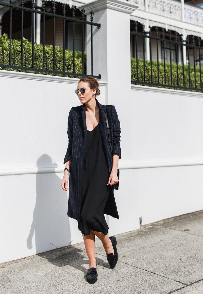 modern legacy fashion blog Australia pinstripe Zara coat street style Topshop cami silk slip dress Senso navy loafers Alexander Wang Envelope Prisma bag (1 of 10)