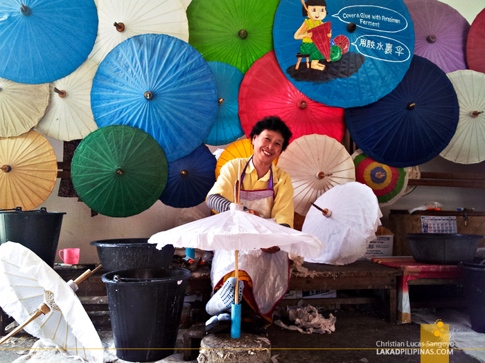 Making an Umbrella at the Umbrella Making Centre in Chiang Mai