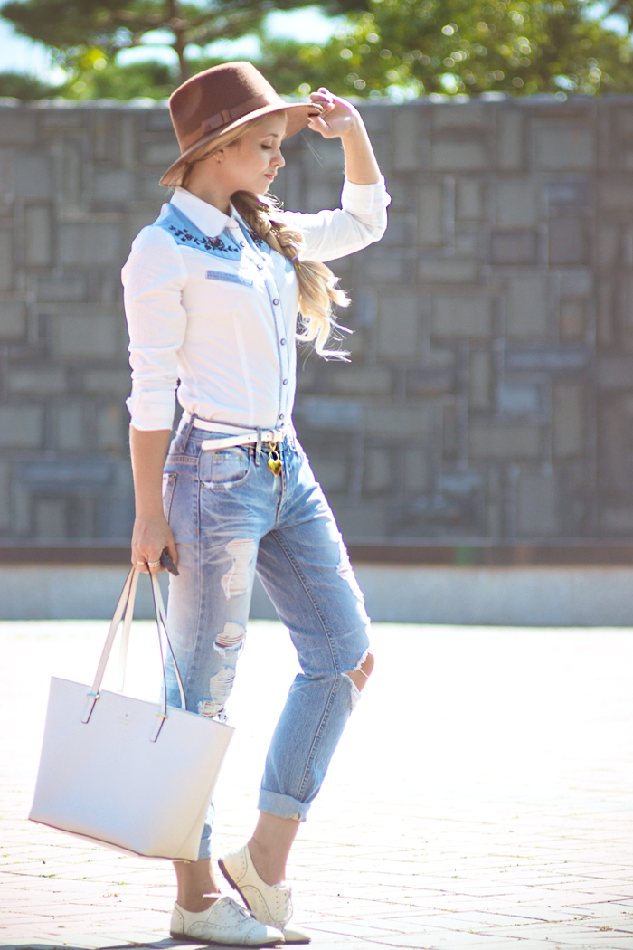 Olga choi fashion blogger myblondegal South Korea cowboy Oasap shirt boyfriend ripped jeans Kate Spade harmony tote J.Crew fedora hat-02321 copy