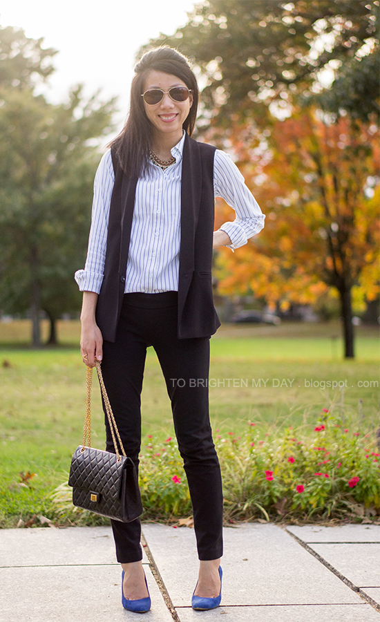 striped dress shirt, black vest, black pants, blue suede pumps