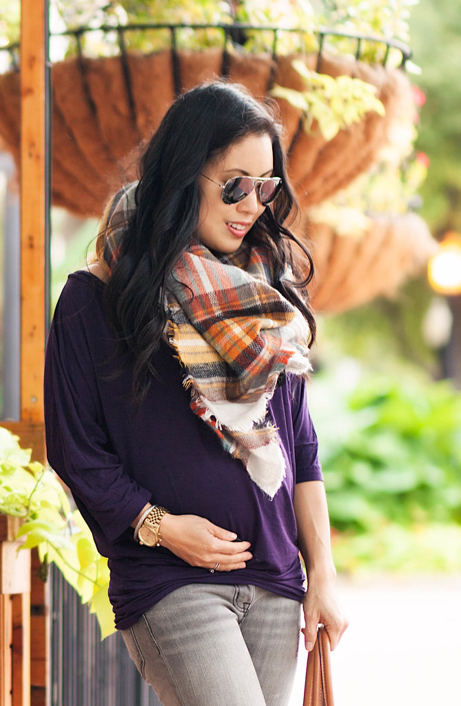 cute & little blog | petite fashion | zara checked plaid scarf, michael kors maternity dolman drape top, gray skinny jeans, jessica simpson aggie burgundy ankle booties, ray ban aviators | maternity baby bump | second trimester 25 weeks