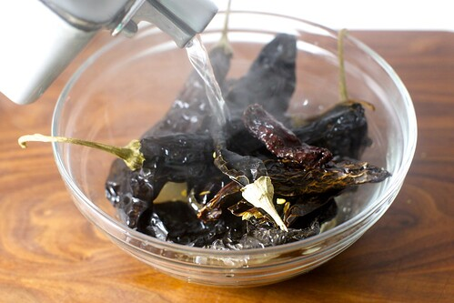 boiling water to soften dried chiles