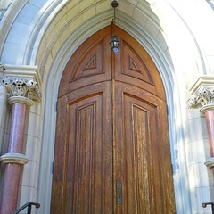 One of the three doors of a beautiful church in Lambertville, NJ