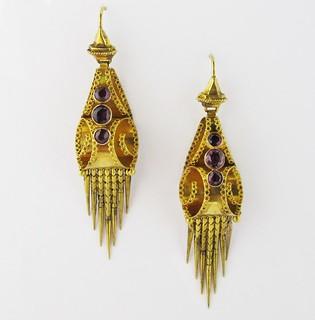 Ali- gold and garnet earrings
