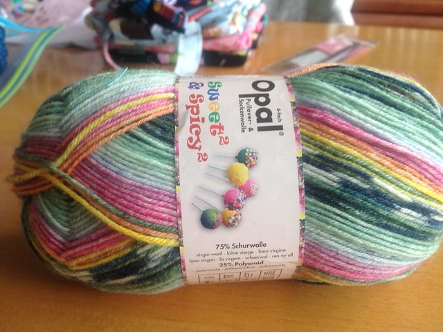 "Sweet and spicy yarn from Opal. Colorway name is ""cake pops""."
