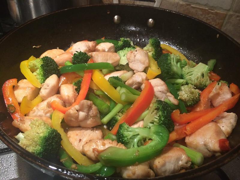 Chicken Cashew Nut and broccoli Stir Fry : Add the spring onions
