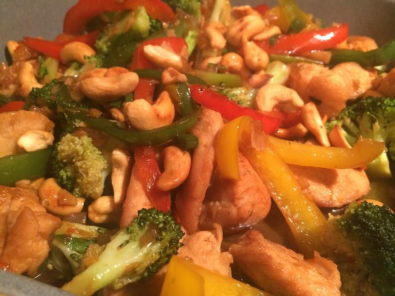 Chicken Cashew Nut and broccoli Stir Fry : Close up