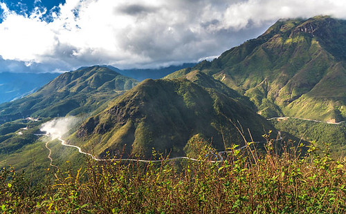 View from Vietnam's highest mountain pass at Tram Ton near Sa Pa