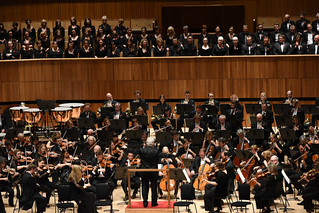 Pinchas conducts two orchestras and choir
