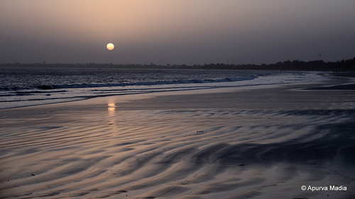 sunset sea india beach nature landscape waves pattern desolate diu