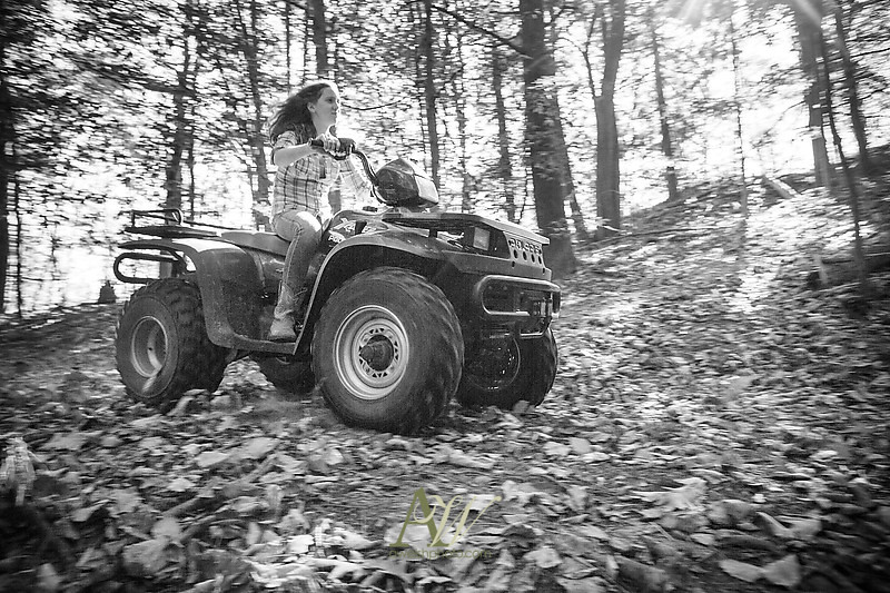Pittsford Mendon Senior High School photographer Andrew Welsh Photography portrait ATV dirt bike woods hunting bow arrow deer tree forest tractor truck country Rochester NY
