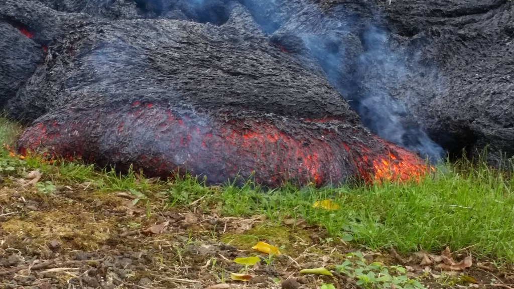 Checking out the lava flow in Pahoa on October 29, 2014.