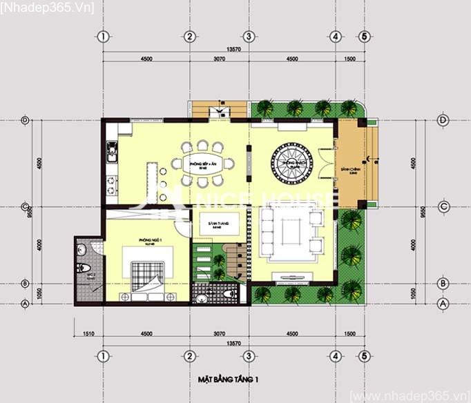 Mặt bằng tầng 1 - biệt thự 2 tầng