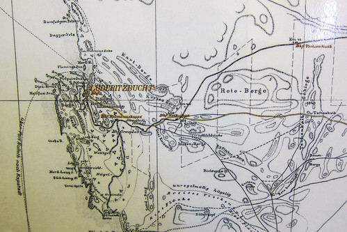 Old map of Lüderitz, Namibia. Windhoek railway museum