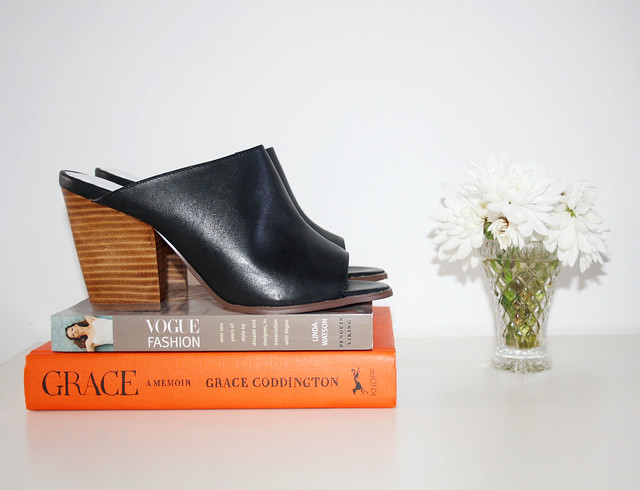 Black leather mules by Atmos and Here