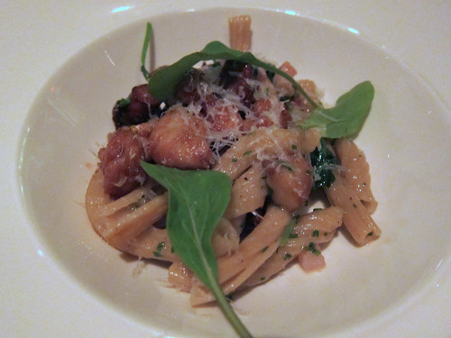 Handmade Trofiette Pasta with Sweetbreads and Mushrooms