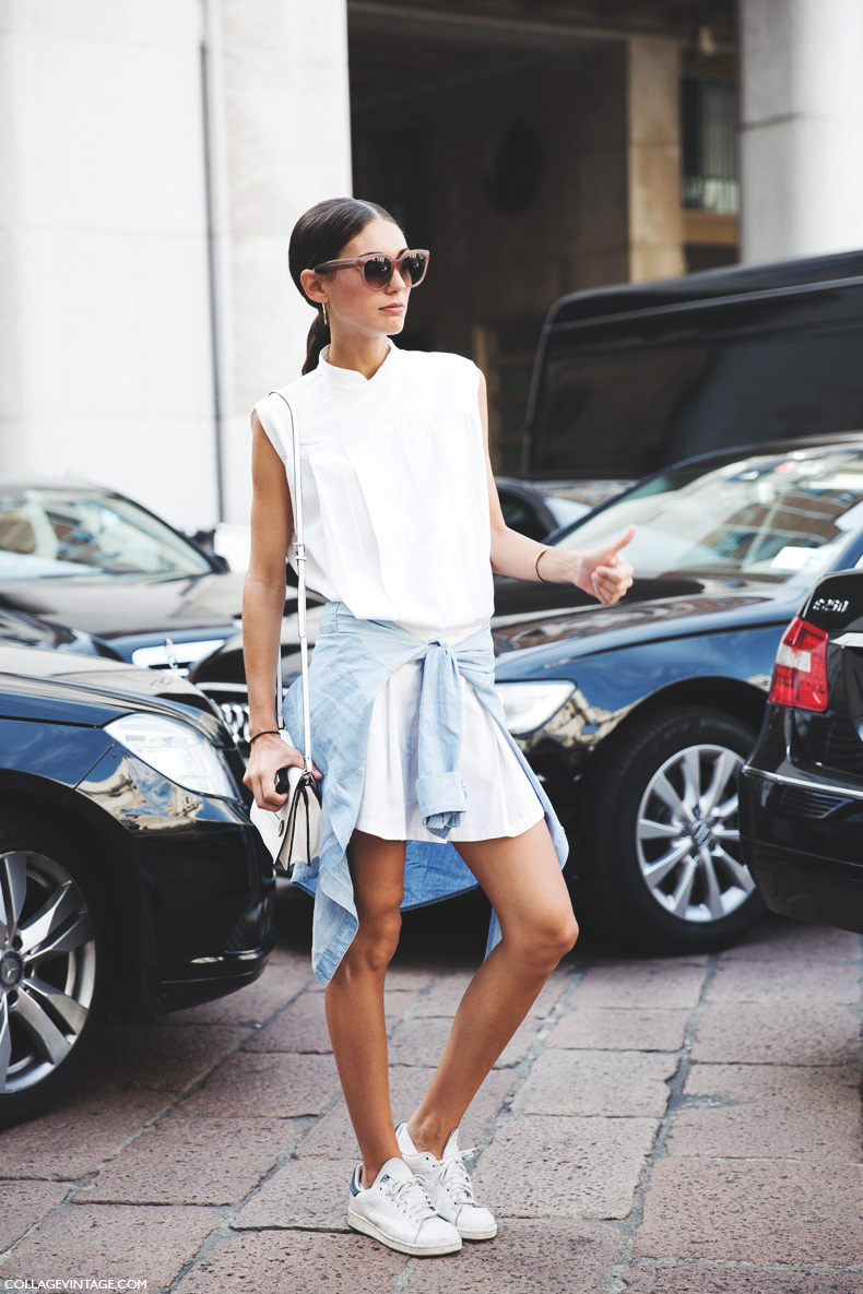 Milan_Fashion_Week_Spring_Summer_15-MFW-Street_Style-Diletta_Bonaiuti-White_Dress-Adidas_Stan-Sneakers-1