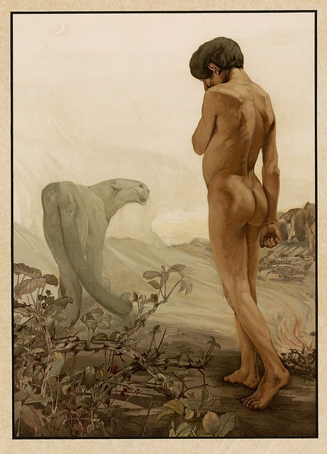 003-Mowgli saliendo de la selva-Sixteen illustrations of subjects from Kipling's Jungle Book-1903 -Library of Congress