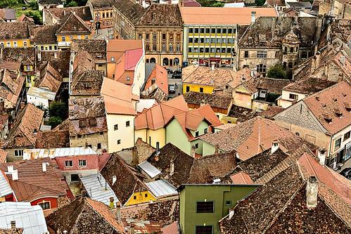 world city heritage site rooftops medieval unesco german romania sighisoara transylvania saxons