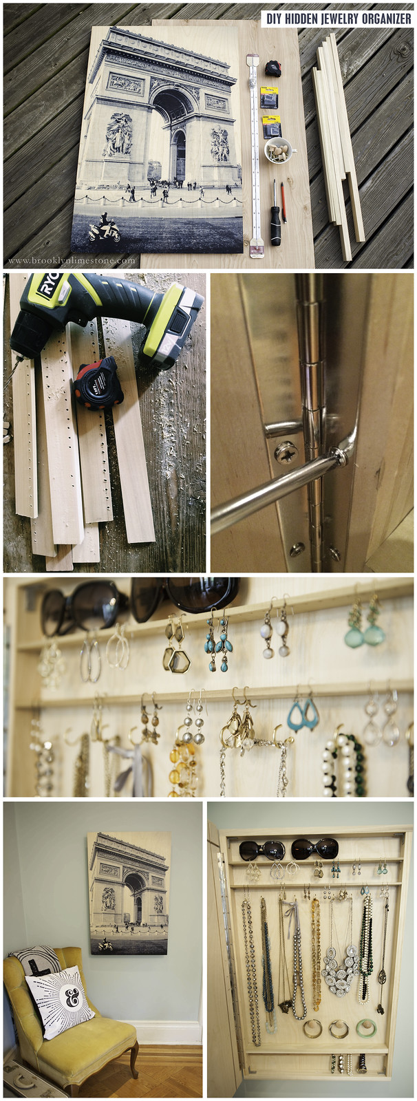 Hide your accessories behind your favorite photo with this easy to make DIY Hidden Jewelry Organizer