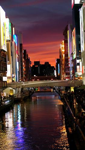 nightphotography sunset water japan reflections canal streetphotography osaka dōtonbori