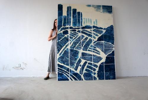 cyan mural
