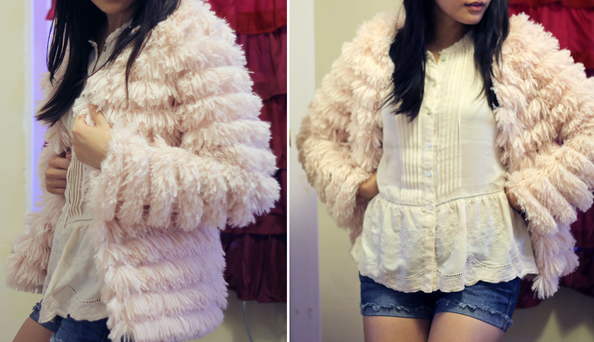 Pink shaggy layered jacket from Forever 21