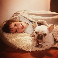Best friends. #tbt #bestfriends #10daysoffloaties #floatiesswimschool @floatiesswimschool #bffs #bed #cozycave #frenchie #frenchbulldog #frenchbulldogsofinstagram #frenchbulldoglovers #kids