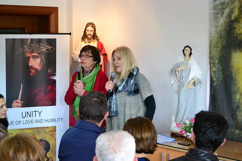 Vassula at Padre Pio Casa Center with Marija translating