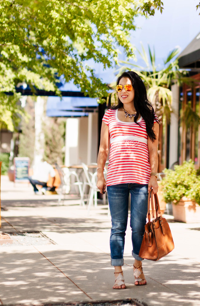 cute & little blog | petite fashion | maternity baby bump pregnant | empire waist striped top, boyfriend jeans, sam edelman tyra sandals, oakley caveat | second trimester 23 weeks