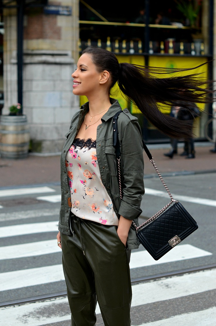DSC_2880 Army green leather pants, floral zara lingerie top, Chanel Boy bag