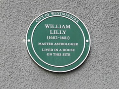 Photo of William Lilly green plaque