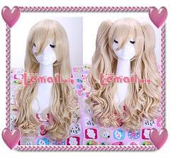 Blonde Long 65cm curly wig+ 2 Clip On Ponytail