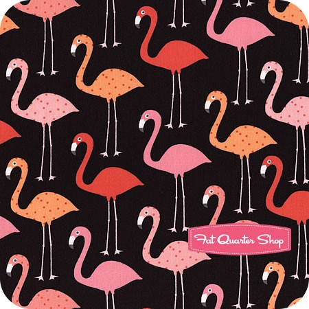 Urban Zoologie Black Flamingos Yardage
