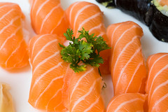 salmon-like fish(0.0), fish(0.0), salmon(1.0), sashimi(1.0), fish(1.0), sushi(1.0), garnish(1.0), lox(1.0), food(1.0), dish(1.0), cuisine(1.0), smoked salmon(1.0),